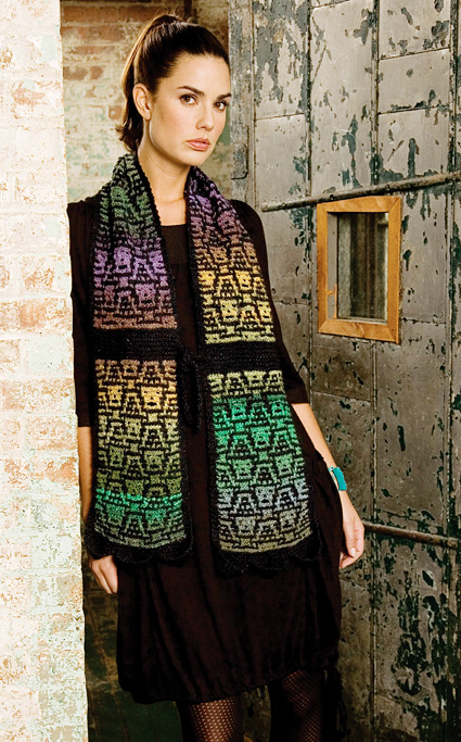 Nicky Epstein's Skullface mosaic knitted scarf