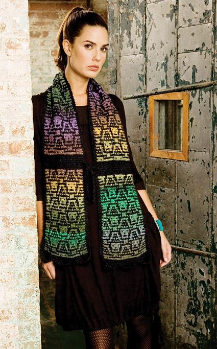 Nicky Epstein's Skullface mosaic knitted scarf