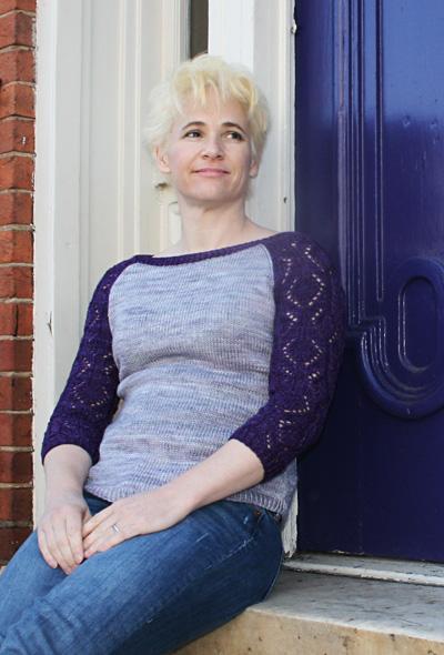 叉肩蕾丝袖撞色套头衫-原文图解 - Tina - Tina的手工编织的博客