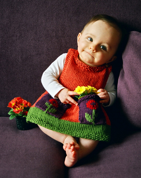Knitted Pinafore Dress Pattern Free : Baby Dresses