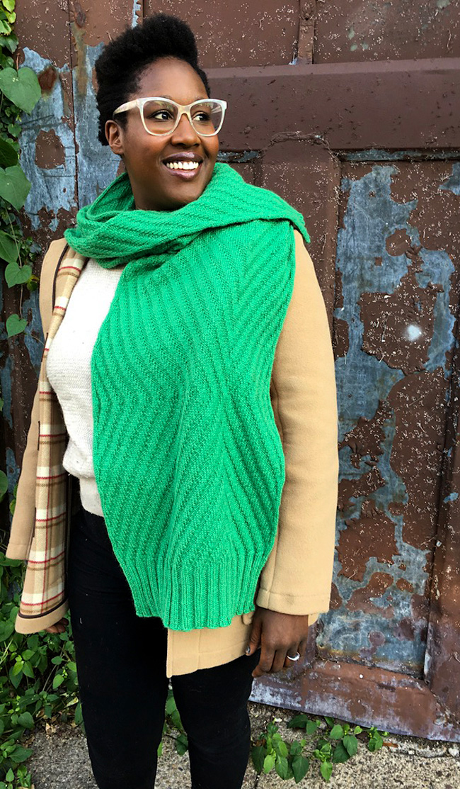 Bright green textured scarf with free knitting pattern.